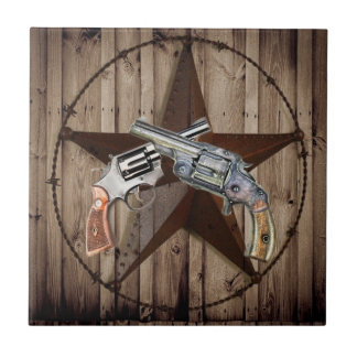 rustic western country texas star cowboy pistols ceramic tile