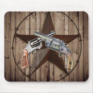 rustic western country texas star cowboy pistols mouse pad