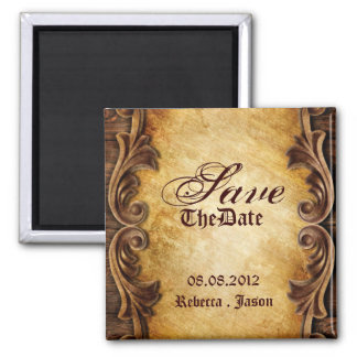 rustic western country wedding Save The Date Square Magnet
