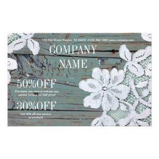 Rustic Western Country White Lace Teal Barn Wood 14 Cm X 21.5 Cm Flyer