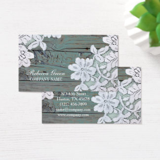 Rustic Western Country White Lace Teal Barn Wood Business Card