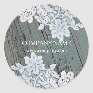 Rustic Western Country White Lace Teal Barn Wood Classic Round Sticker