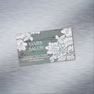 Rustic Western Country White Lace Teal Barn Wood Magnetic Business Cards