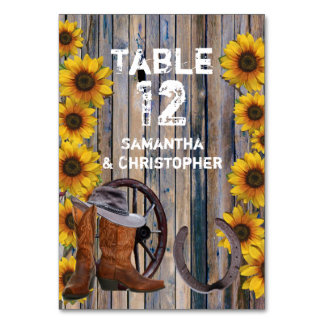 Rustic western cowboy and sunflower wedding card