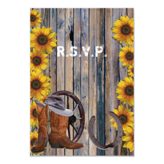 Rustic western cowboy country wedding R.S.V.P Card