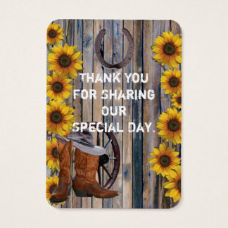 Rustic western cowboy favor thank you tag
