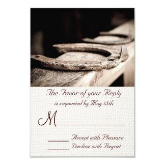 Rustic Western Hoof Horse Shoe Wedding RSVP Cards 9 Cm X 13 Cm Invitation Card
