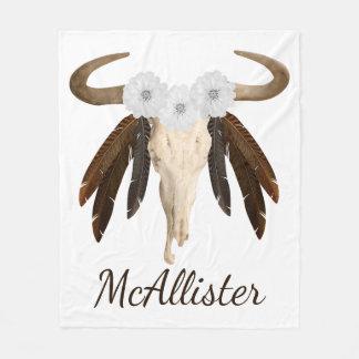 Rustic Western Prairie Floral Cow Skull Feathers Fleece Blanket