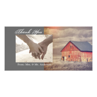 rustic western red barnhouse country thank you customized photo card