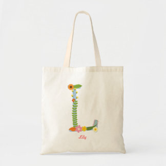 Rustic Whimsical Flower Monogram (L) Tote Bag