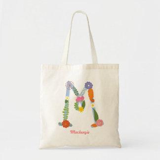 Rustic Whimsical Flower Monogram (M) Tote Bag