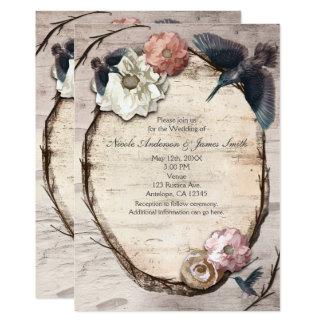 Rustic White Birch Floral & Hummingbird Invitation