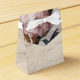 Rustic White Birch Floral & Hummingbird Party Favour Box