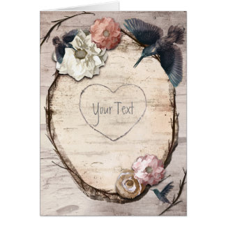 Rustic White Birch Floral & Hummingbird Thank You Card