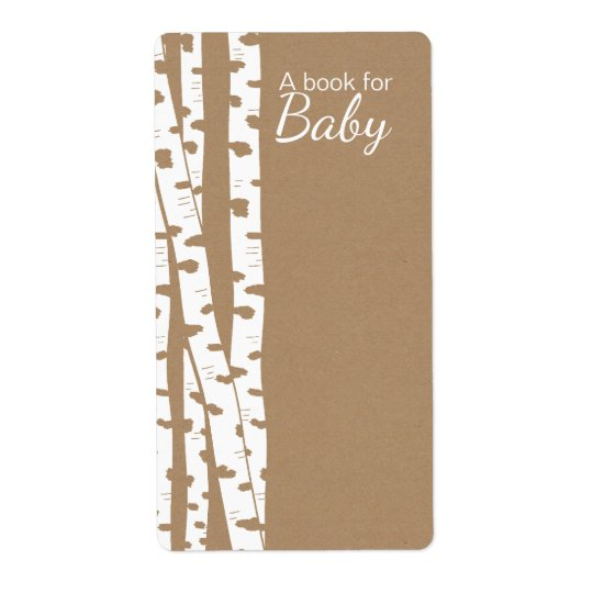 Rustic White Birch Trees Baby Book Tags Shipping Label