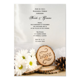 Rustic White Daisies Woodland Rehearsal Dinner Card