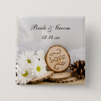 Rustic White Daisies Woodland Wedding 15 Cm Square Badge