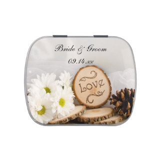 Rustic White Daisies Woodland Wedding Favor Jelly Belly Tins