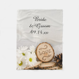 Rustic White Daisies Woodland Wedding Fleece Blanket