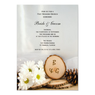 Rustic White Daisies Woods Post Wedding Brunch Card