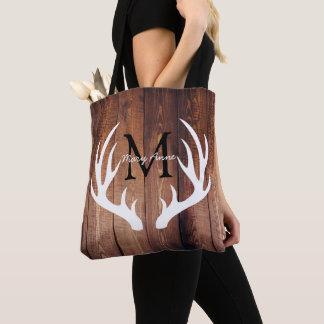 Rustic White Deer Antlers Barn Wood & Name Tote Bag