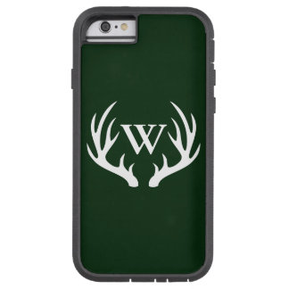 Rustic White Deer Antlers Custom Monogram Tough Xtreme iPhone 6 Case