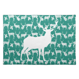 Rustic White Deer on Teal Placemat Cloth Place Mat