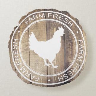 Rustic White Farm Fresh Hen Farmhouse Label Round Cushion