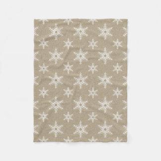 Rustic White Faux Burlap Snowflake Pattern Fleece Blanket