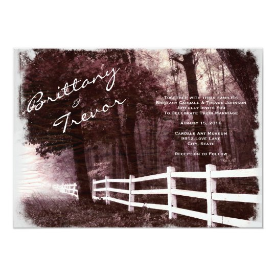 Rustic White Fence Forest Tree Wedding Invitations