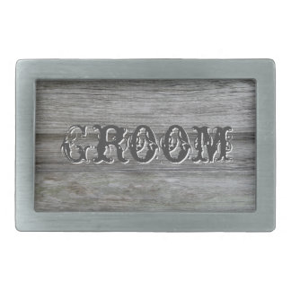 Rustic White Flowers Groom Belt Buckle
