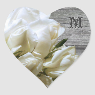 Rustic White Flowers Monogram Heart Envelope Seals