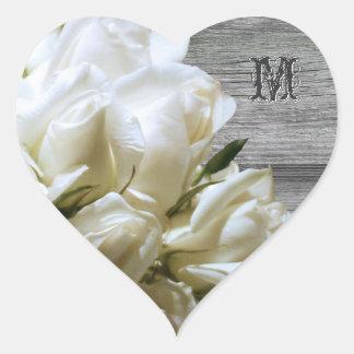 Rustic White Flowers Monogram Heart Envelope Seals Heart Sticker