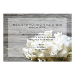 Rustic White Flowers Reply Cards with Menu Options Custom Invitations
