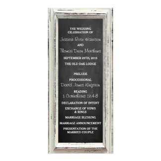 Rustic White Frame & Chalkboard Wedding Collection Customised Rack Card