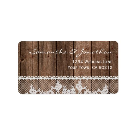 Rustic White Lace and Wood Address Label