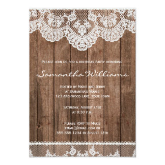 Rustic White Lace and Wood Birthday Invitation