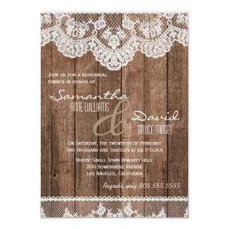 Rustic White Lace and Wood Rehearsal Dinner Invite