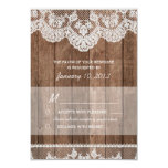 Rustic White Lace and Wood RSVP 9 Cm X 13 Cm Invitation Card