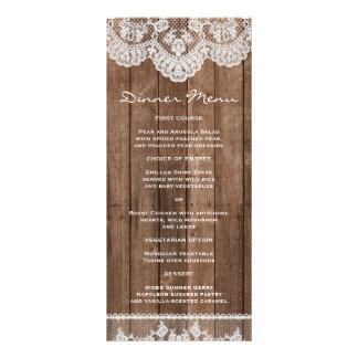 Rustic White Lace and Wood Slim Dinner Menu Custom Rack Cards