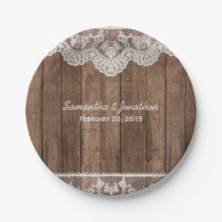 Rustic White Lace and Wood Wedding Paper Plate