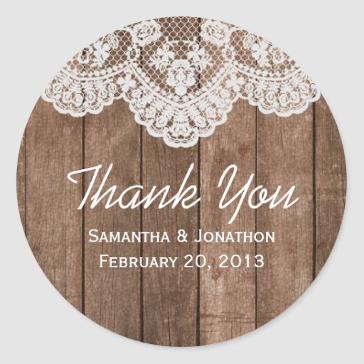Rustic White Lace and Wood Wedding Thank You Round Stickers