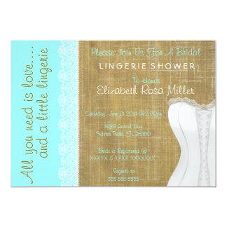 Rustic White Lace Corset Lingerie Bridal Shower Announcement