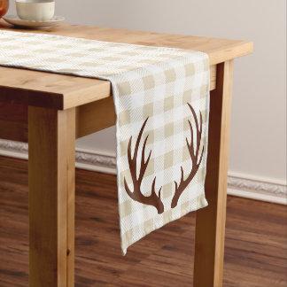 Rustic White Plaid Brown Deer Antlers Long Table Runner