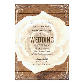 Rustic White Rose and FIligree Wedding Invitation