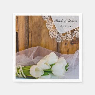 Rustic White Tulips Country Barn Wedding Paper Napkin
