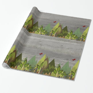 Rustic White Wood Forest Animal Wrapping Paper