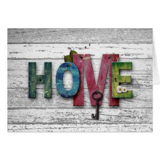 Rustic White Wood Key Home Change Of Address Card