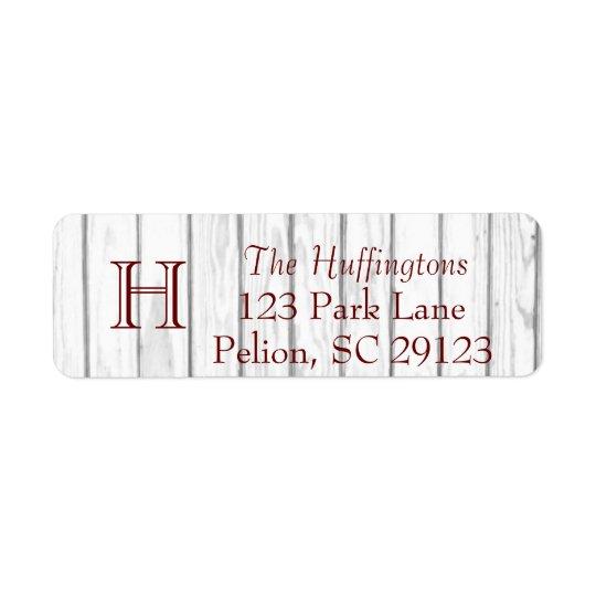 Rustic White Wood Monogram Full address Return Address Label