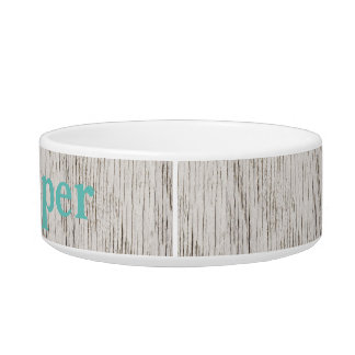 Rustic White Wood Planks Monogrammed Cat Food Bowl